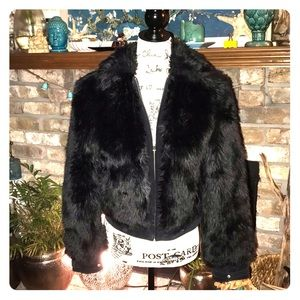 Express leather & faux fur cozy & sexy jacket XS